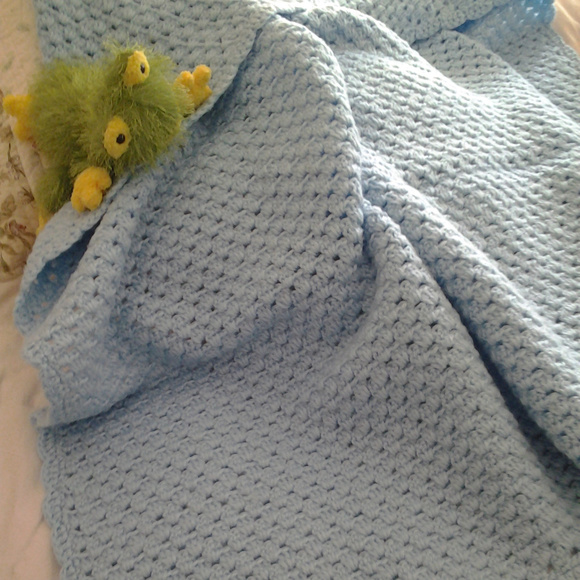 Accessories Vintage Blue Handmade Crocheted Baby Blanket 1980s